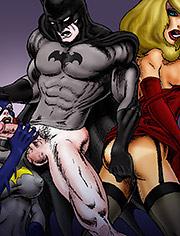 Catwoman sucks off Batman's cock