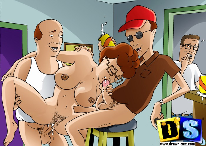 Peggy participating in dirty threesome