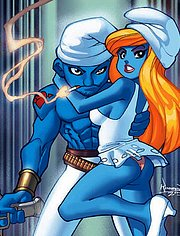 Smurfette and Grouchy before sex