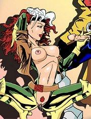 Rogue blows Gambit's boner