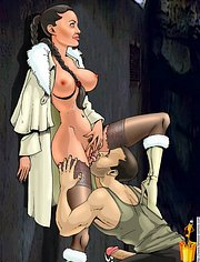 Terry Sheridan licks a pussy of Lara Croft