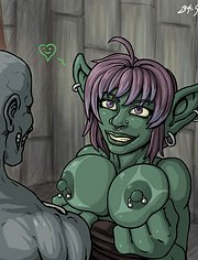 Pierced goblin whore in anticipation of sex with zombi