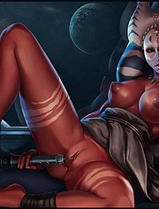 Alien queen Shaak Ti stretches her pussy